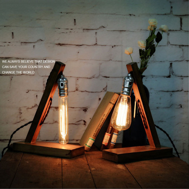 American country vintage wood lamp  Edison hall Coffee Nordic Industrial desk lamp bedside lamp Creative decoration light