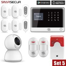 цена на Smarsecur home security alarm EN RU ES Wireless Alarm system APP Remote Control