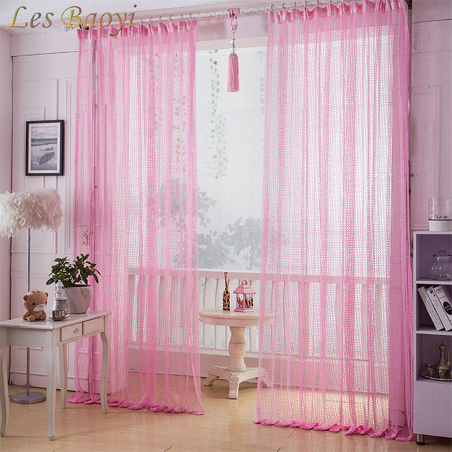 Les Baoyi Pink Embroidered Voile Tulle Curtains for Living Room ...