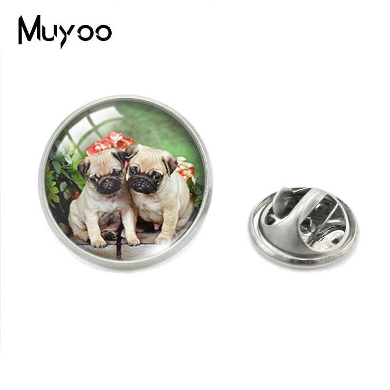 Cute Pug Anjing Pudel dan Bunga Seni Cetak Kaca Cabochon Kerah Pin Anjing Yang Indah Perhiasan Pin Kerajinan Tangan Kerah Pin