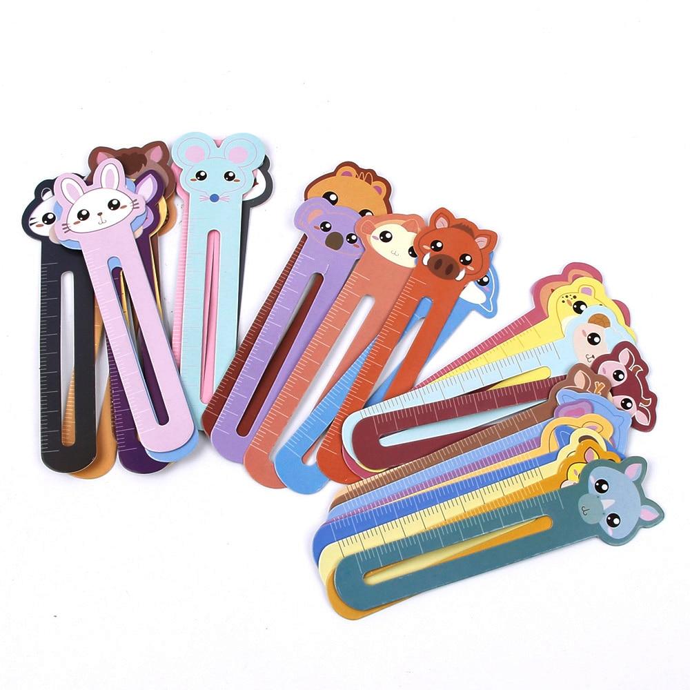 30pcs/box Kawaii Animal Manor Book Folder Ruler Decorative Cartoon Bookmarks Office School Supply Stationery Gift