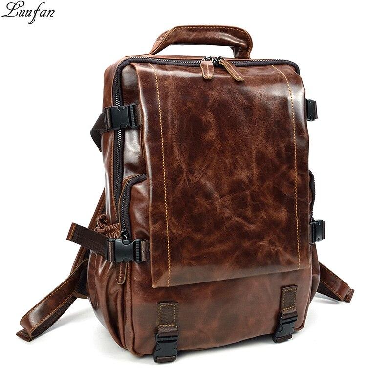 Nesitu Vintage Coffee Brown Real Skin Genuine Leather Women Men Backpacks #m7347