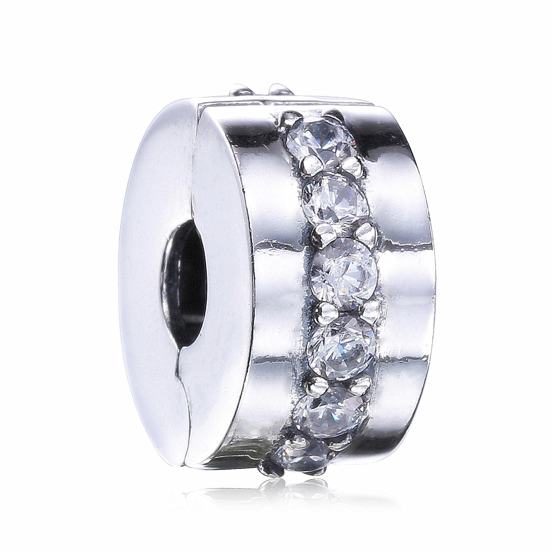 100% Genuine 925 Sterling Silver Stopper Interlinked Circles, Clear Cz Clip Beads Fit Pandora Charm Bracelet Diy Jewelry