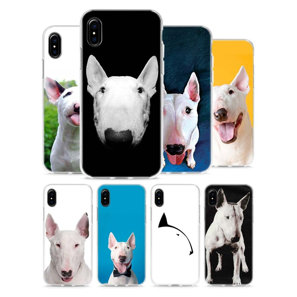 Transparent Soft Silicone Phone Cases Bullterrier bull terrier Style for  Apple iPhone X 8 7 6 ce41d7adacb9