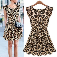 Fashion High End Boutique Europe And The United States Sleeveless Round Leopard Leopard Dress Comfortable Breathable