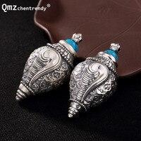 100% 990 Sterling Silver Conch Locket Pendants Buddhist Antique Shurangama Mantra Amulets Talismans Men Women Prayer Necklace