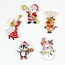 Kawaii Snowman,Santa Claus, Mixed Wooden Buttons Christmas Decor Craft DIY Scrapbooking Sewing Buttons Sewing Accessories 50pcs(China)