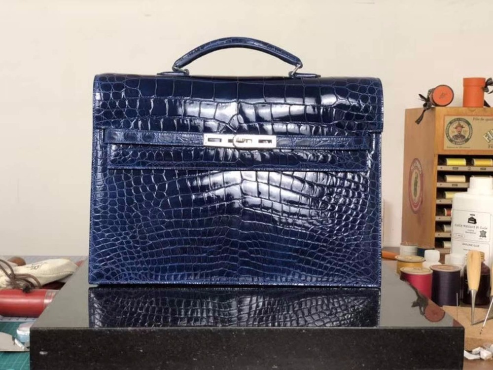 2018 Newly Production High Glossy Shinny Genuine/Real 100% Crocodile Belly Skin Briefcase Official Bag Men Business Bag Handbag