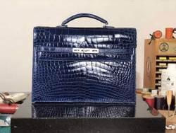 2018 новое производство Глянцевая блестящие натуральная/Настоящее 100% крокодиловой кожи живота Портфели Сумка в деловом стиле для мужчин