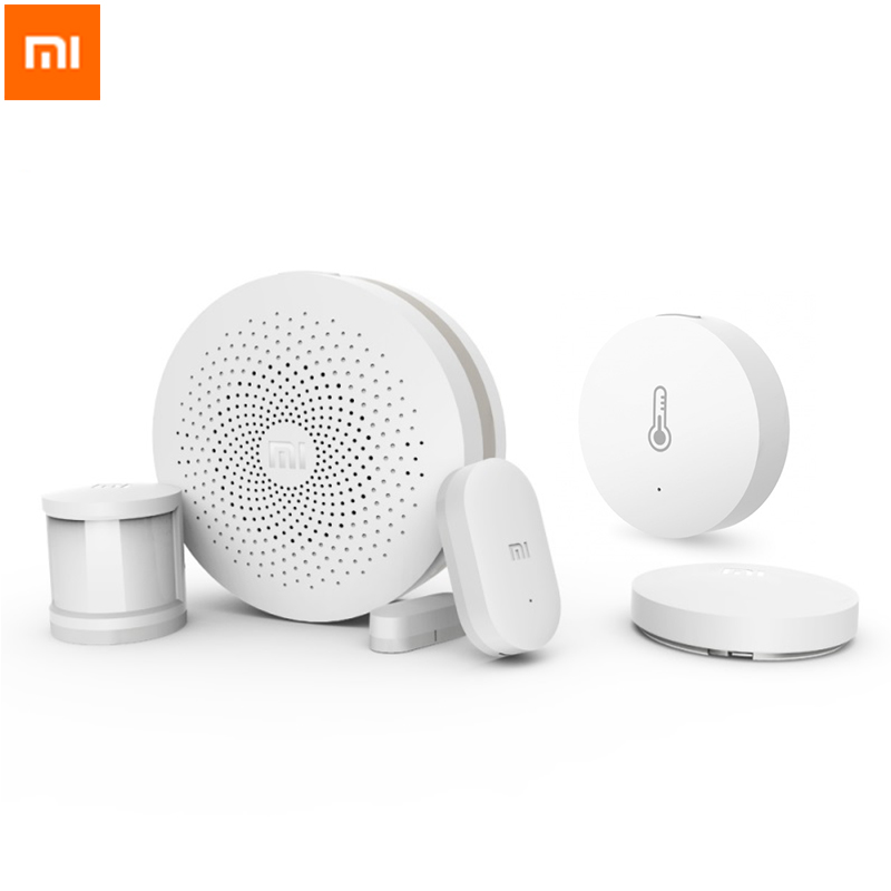 Xiaomi Smart Home Kit (Gateway,Smoke Detector,Door Window,Body Sensor,Temperature Humidity Sensor)Wireless Control monitor Mijia new gift box original xiaomi smart home kit gateway door window sensor human body sensor wireless switch zigbee socket sets