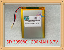 Bateria de Polímero Liter Energy Battery 3.7 V de Lítio 305080 Bateria 1200 Mah Mp5 Mp4 Gps Produtos Digitais Geral