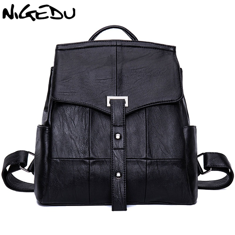 цены NIGEDU Brand Luxury Women Backpack high quality PU Leather School Backpacks Black Book Bags Large Capacity Rivet Shoulder Bag