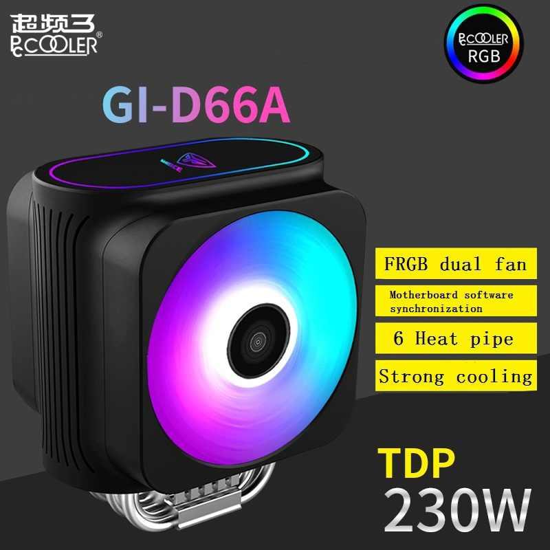 Pccooler 6 Heatpipe enfriador de CPU 12 cm RGB 5 V y 12 V doble ventilador Intel AMD radiador disipador de calor CPU refrigeración 120mm silencioso PC FRGB ventilador