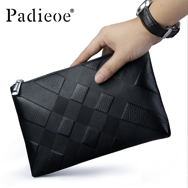Padieoe Designer Male Clutch Bag Genuine Cow Leather Purse Men Phone Pouch High Quality Business Card Organizer Male Money Clamp