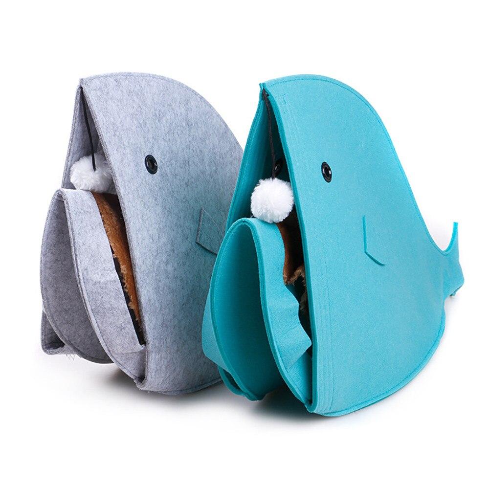 Newest 2 color Pet Dog Dual Use Convenient Portable Shark Shape Cute Dog Beds Warm Soft Foldable Dog House F901 5