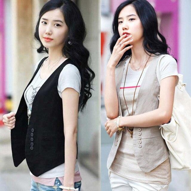 Ms colete slim vestido coreano para mulheres, colete/colete pequeno