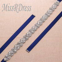 MissRDress Bridal Belt For Gown Flower Crystal Rhinestones Jeweled Wedding Dress Belt Bridal Sash YS818