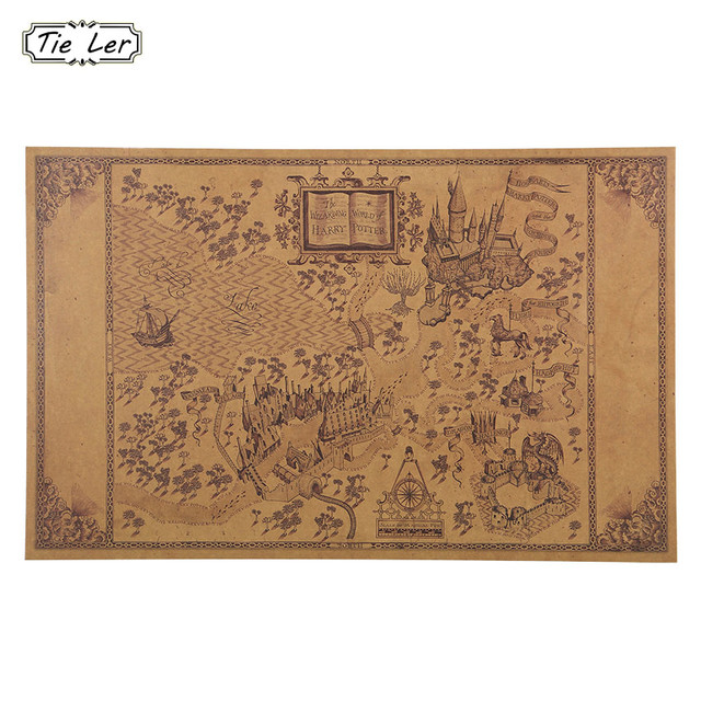 1 pcs Map of The Wizarding World of Harry Potter Poster Movie 51*33cm Classic Poster Vintage Retro Paper Craft Wall Stickers