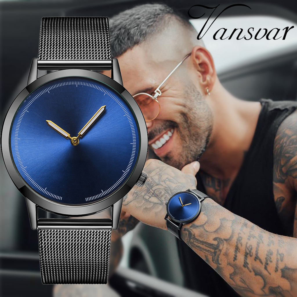 Vansvar Casual Quartz Stainless Steel Band Newv Strap Watch Analog Wrist Watchformal Business Leisure Party Decoration Gift For