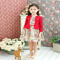 Hot Sale New arrive Autumn Girl cotton Clothing Dress, kids girl long sleeve baby flower dress free shipping D28