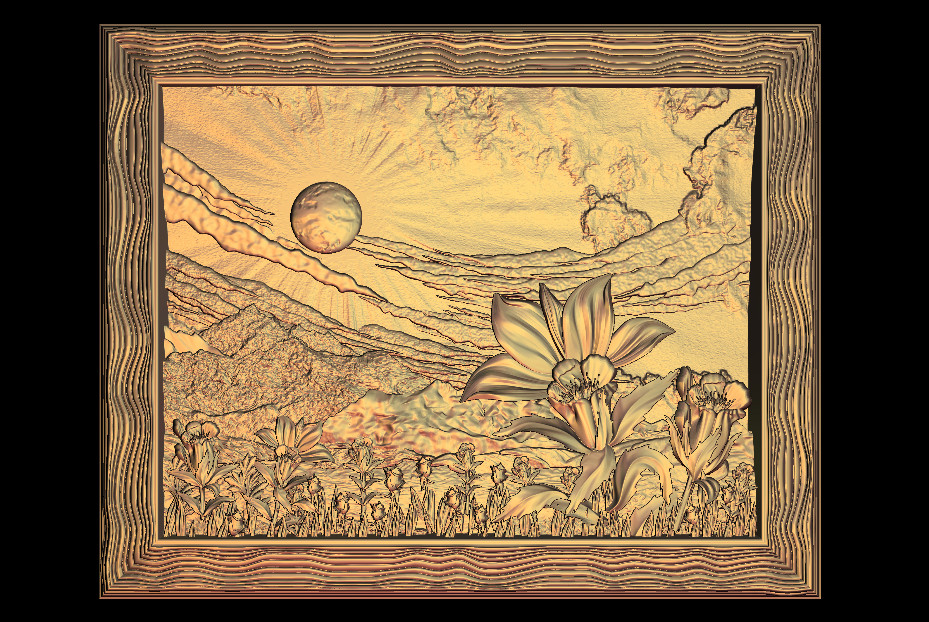 Sun And Flower 3D Relief Model In STL Format CNC Router Carving Engraving Artcam Aspire M104