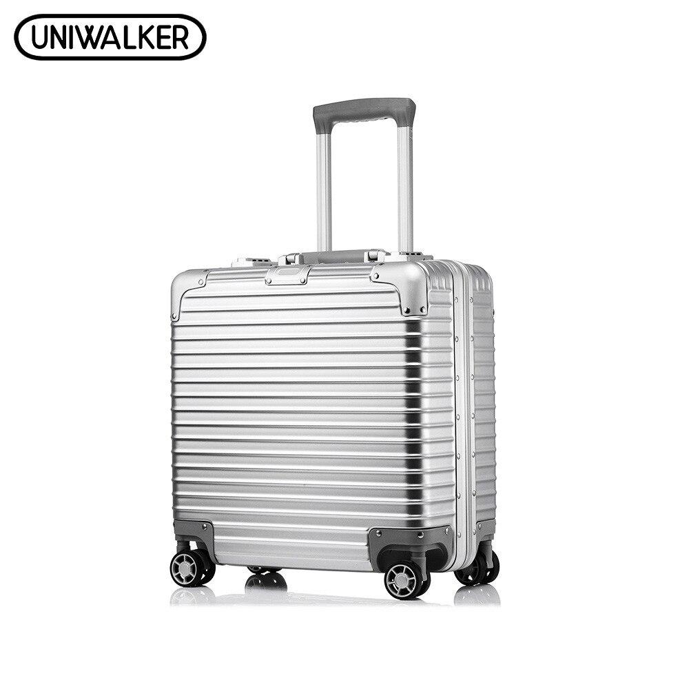 UNIWALKER 18' Cm Unisexe ABS + PC Bagages À Roulettes Résistant Aux Rayures Voyage Chariot Hardside Bagages Valise mala de viagem