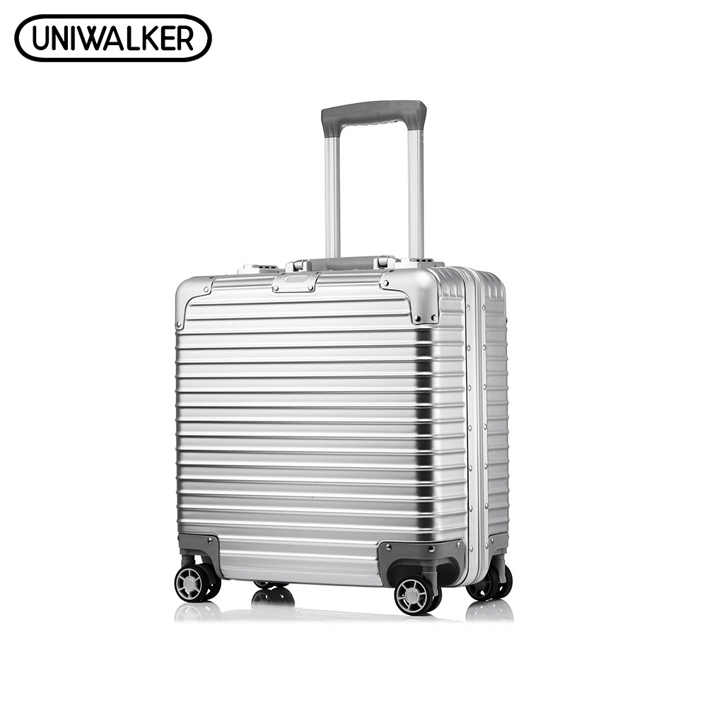 UNIWALKER 18' Inchs Unisex ABS+PC Rolling Luggage Scratch Resistant Travel Trolley Hardside Luggage Suitcase mala de viagem vintage suitcase 20 26 pu leather travel suitcase scratch resistant rolling luggage bags suitcase with tsa lock