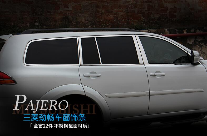 for Mitsubishi Challenger Pajero Sport 2009 2010 2011 2012 2013 2014 full window trims 22pcs image
