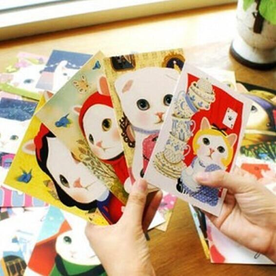 WunderschöNen 10 Pcs Neue Gelegentliche Jetoy Korea Nette Weiße Katze Kawaii Postkarte K1273 Jade Weiß