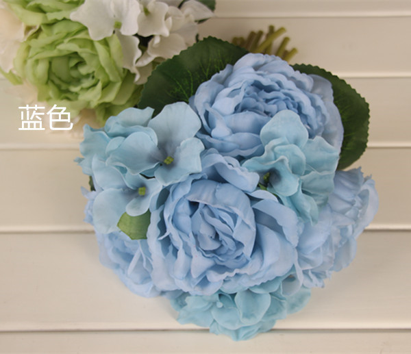 Four color Blue White Green Pink Peony Wedding bridal throw bouquet 2015 Bridal Bouquet Bridesmaid Flowers