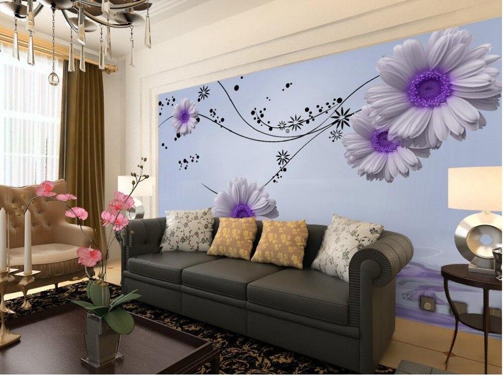 bedroom romantic purple backdrop living 3d modern fantasy dream chrysanthemum watercolor flower daisy background tv mural wall reflection