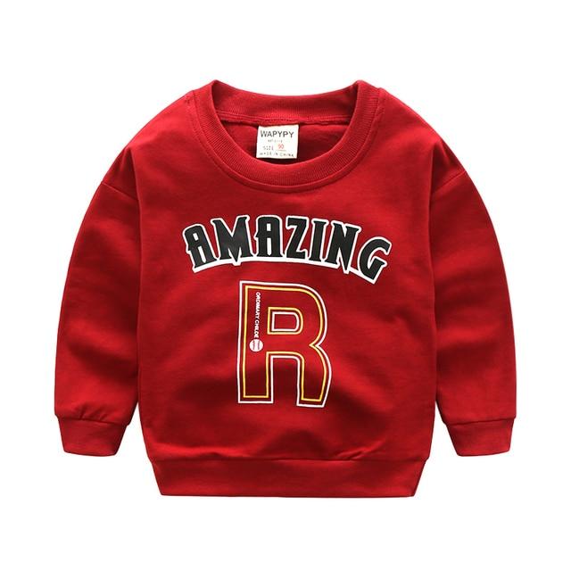 Ребенок футболка мальчики спорт верхняя одежда мальчиков толстовки письмо печати пуловер повседневная топ весной и осенью