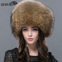 El 2018 de las mujeres de piel de zorro genuina gorros de invierno ruso  sombrero de a0fd1c3dffa3