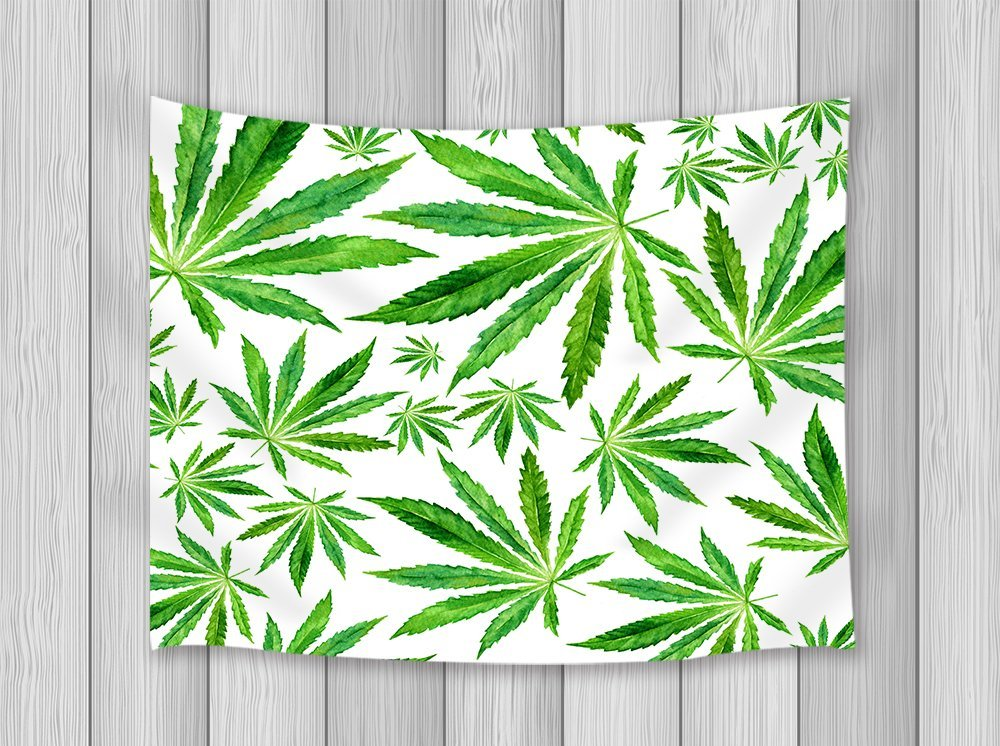 Green Decor Tapestry Exotic Plant Leaves Crowd Of Vector Background, Green Cream Wall Art Hanging for Bedroom Wall Blankets