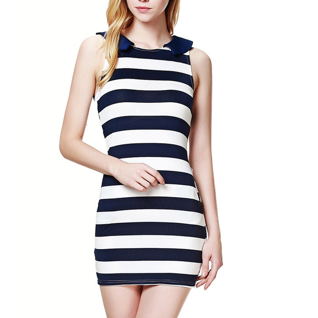 NEW 2016 summer style sexy women clothing party dress Sailor Collar Sleeveless Casual Striped Mini Dresses plus size WQ005