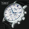 Мужские автоматические механические часы JARAGAR  модные классические часы с кожаным ремешком  3 циферблата  6 стрелок  лучший бренд  роскошный ...