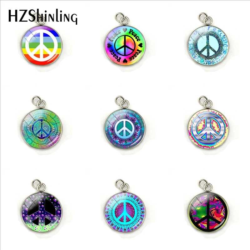 Peace Sign Colorful Patterns Fashion Charms Glass Cabochon Hand Craft Stainless Steel Pendants Jewelry  Accessories