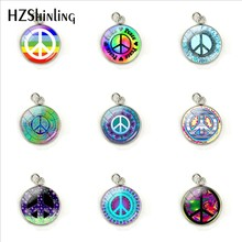 Peace Sign Colorful Patterns Fashion Charms Glass Cabochon Hand Craft Stainless Steel Pendants Jewelry Accessories(China)