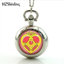 2017 New Arrival Sailor Moon Pocket Watch Handmade Glass Dome Sailor Moon Heart Necklaces Photo Locket Necklace Jewelry(China)