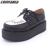 Top Quality Size 34 44 Mens Real Leather Shoe HARAJUKU Style Cow Leather Punk Creepers Platform