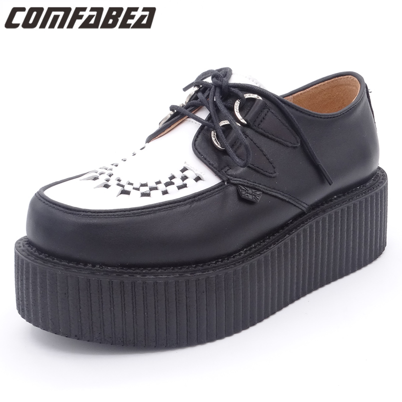Autumn Shoes Men 2017 Mens Real Leather Shoe HARAJUKU Footwear Grain Leather Punk Creepers Mens Shoes Casual choudory summer dress crocodile skin shoes men breathable prom shoes full grain leather pointy mens formal shoes shoe lasts