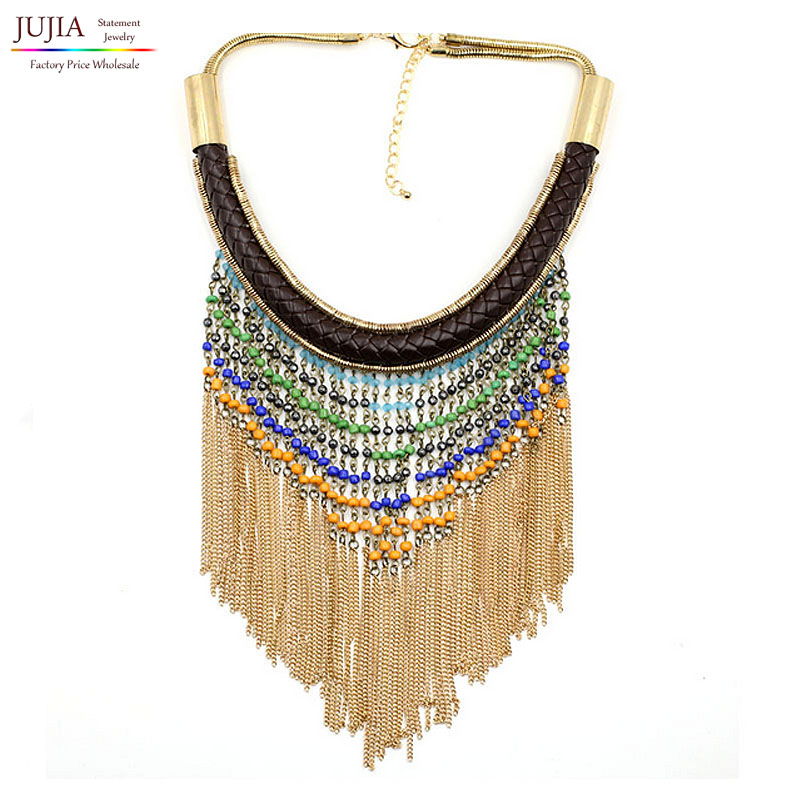 2017 NEW Z design fashion necklace collar beads chain tassel Necklaces & Pendants statement choker women - JUJIA Official Store store