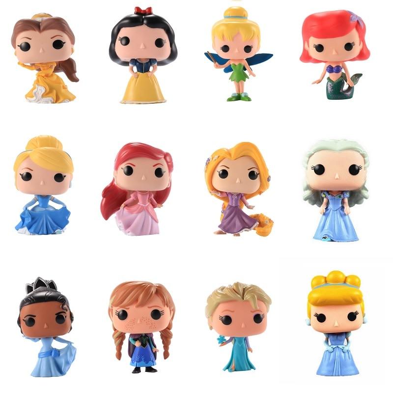 Disney Anime Beauty beast Cinderella Rapunzel Ariel Snow White Belle Princess Action Figures Figurine Collection Model Toy