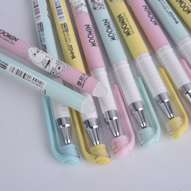 3pcs /set 0.38mm Kawaii Moomin Erasable Pen Blue / Black Magic Gel Pen School Office Writing Supplies Student Stationery