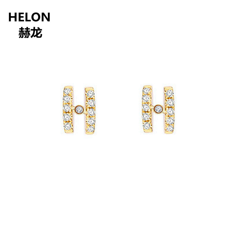 Trendy Natural Diamonds Stud Earrings H Shape Solid 10k Yellow Gold Engagement Wedding Party Women Earrings Fine Jewelry pe hagit fashion 1 pair round shape vintage stud earrings for man trendy party black earrings jewelry men