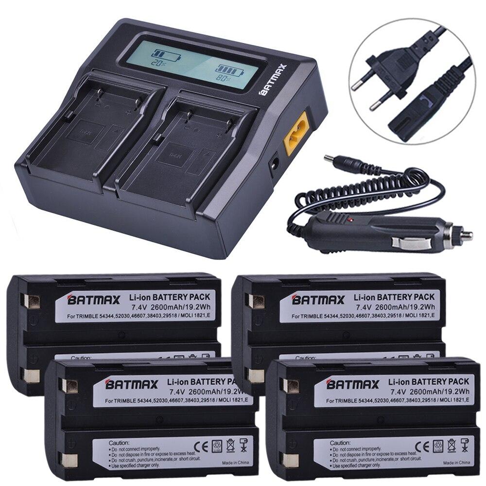 4 pz 2600 mah 54344 Batteria Akku + Rapid LCD Caricatore Doppio per Trimble 5700,5800, R6, R7, r8, TSC1 RICEVITORE GPS Batterie