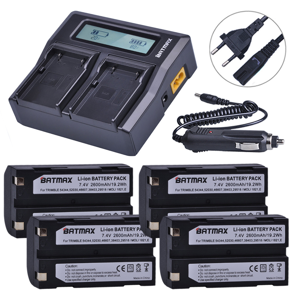 4Pcs 2600mAh 54344 Battery Akku + Rapid LCD Dual Charger for Trimble 5700,5800,R6,R7,R8,TSC1 GPS RECEIVER Batteries цена