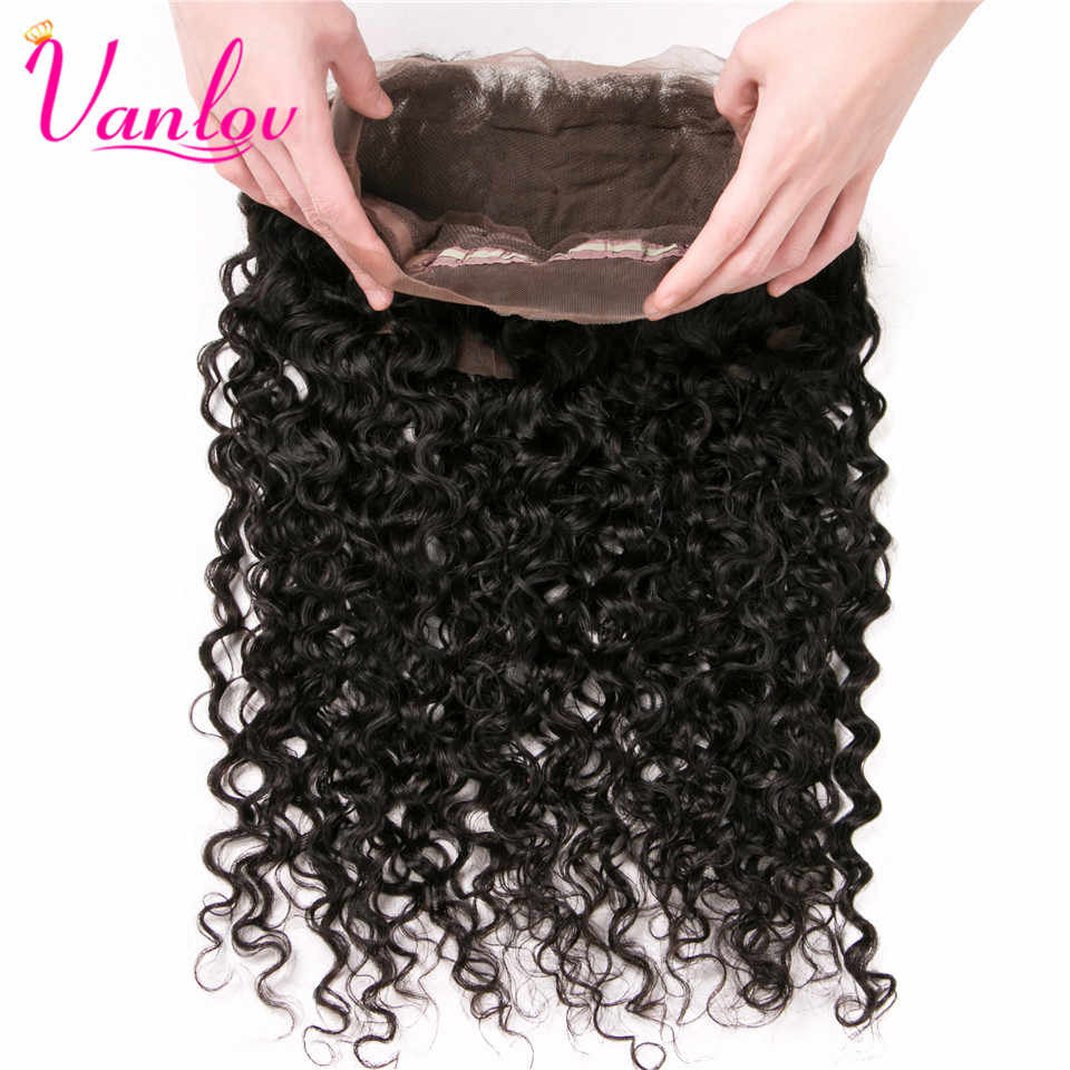 Vanlov Brazilian Water Wave 360 Lace Frontal Closure PrePlucked With Baby Hair Remy Natural Hairline Swiss Lace 360 Frontal