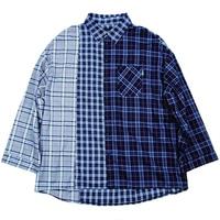 Plaid Loose Shirt Women Plus Size Cotton Harajuku Streetwear Korean Fashion Clothing Patchwork Long Sleeve Blouse Femme 50H0063