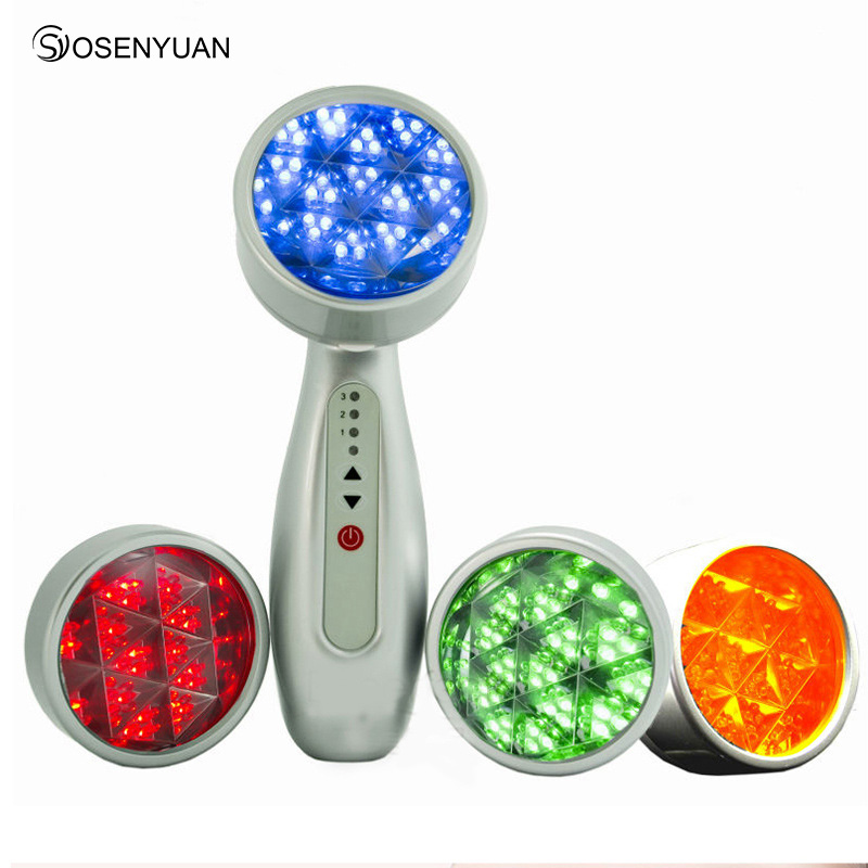 4 colors Photon LED Skin Rejuvenation Red Blue Yellow Light Skin Care Tight IPL Acne Collagen Whitening Therapy Device for face free shipping home use portable yellow green red blue acne treatment skin rejuvenation led photon beauty device